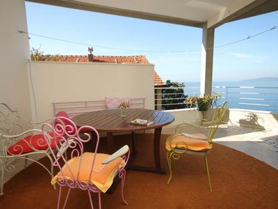 Photo for One bedroom apartment with terrace and sea view Podaca, Makarska (A-8536-a)