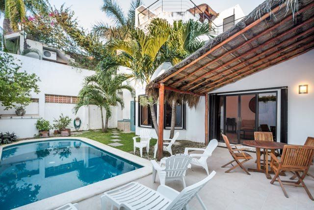 Private backyard swimming pool with palapa patio and beautiful palms