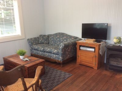 Living area with other sofa, television w/VCR, DVD player, Netflix & Amazon.