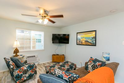 Living Area - Welcome to Port Aransas! This rental is ideal for a couples' getaway or small family vacation.