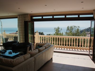 Photo for Luxury modern villa with spectacular views of sea, private pool and jacuzzi