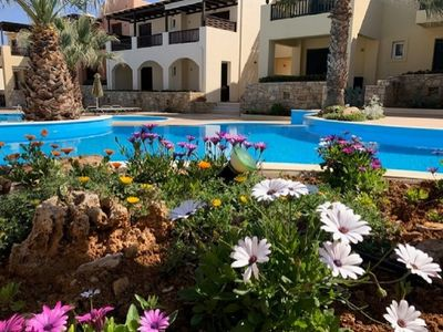 Photo for Newly refurbished, 100m from the sea, overlooks cascading pool, car not required