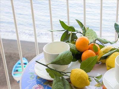 Photo for Luminous private sea view beach apartment in Sorrento for up to 4 people
