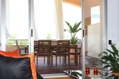 Alfresco dining area seen from the living room