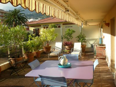 Photo for Roquebrune-Cap Martin - 50 meters from the sea lovely studio with large terrace