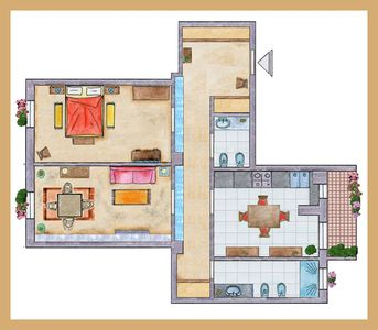 Map of the house - +/- 100 sqm