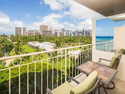 Photo for Modern Park+Ocean View Rental w/Lanai, Kitchenette, Free WiFi–Waikiki Shore 704
