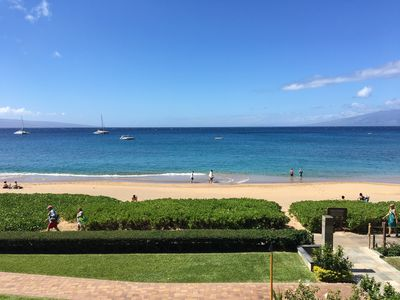 View from lanai.  Condo has quick access to beach along path on right.