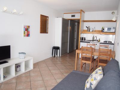 Photo for Charming Studio facing Mont Blanc ARC 2000, ski-to-door departure, 30 m2, 5 people