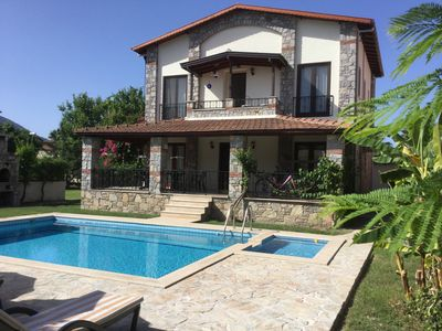 Photo for A beautiful modern villa set in 1000 sq mts with private pools, wi fi, air con