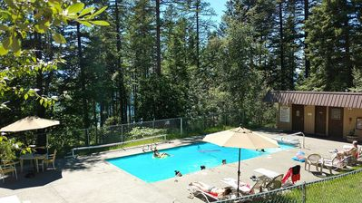 Bridger #1 is right next to the Ptarmigan Outdoor Pool with views of Whitefish Lake.