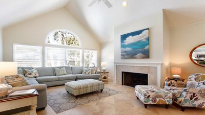 High Ceilings, Travertine Floors and Fireplace