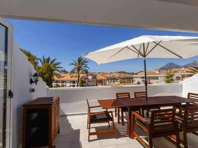 Photo for Sunny penthouse with 2 terraces and pool overlooking the old town of altea