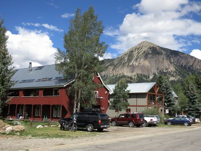 The Mule Barn with Mt. Crested Butte in the background.