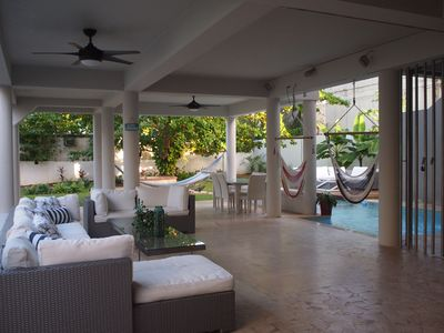 Hammocks, Dinning table for 8-10 and Pool Table at the Downstairs Terrace