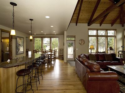 Open kitchen, dining and gathering room.
