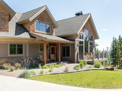 Photo for Luxury ski-in ski-out cabin with Lone Peak mountain views, hot tub, sauna, and game room