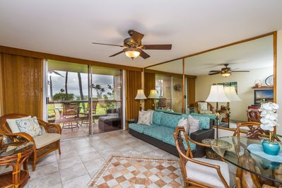 Relax in the island-style, zen  inspired living area. A comfy open space.