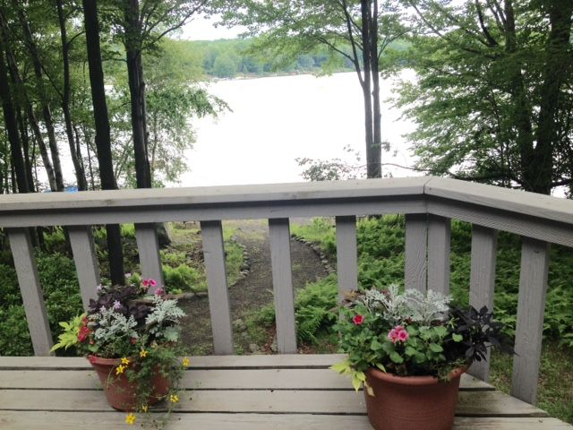 The deck overlooking the lake front property with it's own dock.