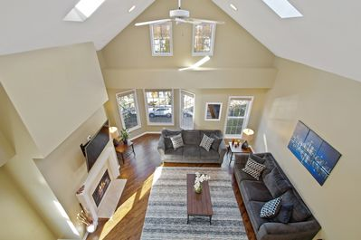 Immaculate open, bright lofted living room area - view from 2nd level