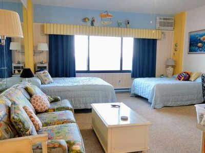 Photo for Cute, intimate oceanfront efficiency condo with WiFi, an outdoor pool, and a great view of the ocean located uptown just steps to the beach!