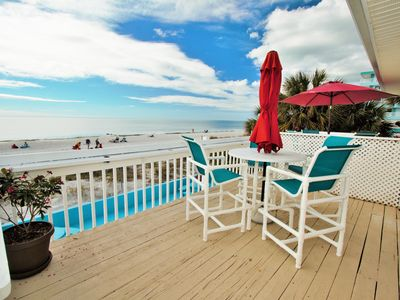 Photo for Two bedroom two bath beach front condo. Stunning ocean views. Ocean front patio.