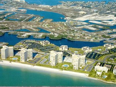 'Pelican's Eye-view' of beachfront condos and beach and Gulf.  Large complex.