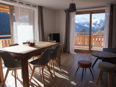 Photo for Appart 6 pers in the heart of Champagny with beautiful view, near slopes, shops.