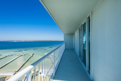 Tristan Towers 9B - -picture taken 10-26-16 -spacious wrap-around balcony  -Soundview from balcony