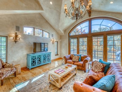 Photo for Secluded light-filled home w/ hot tub, deck, fireplaces and mountain views!
