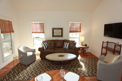 The Living Area Features A Queen Sleeper Sofa