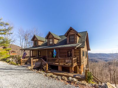 Photo for At Turtle Ridge - 3-story log home with Hot Tub, Pool Table, Beautiful Mountain Views