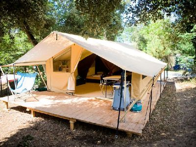 Photo for Camping Huttopia Oléron Les Pins *** - Classic Wood & Canvas Tent 3 Rooms 4 People