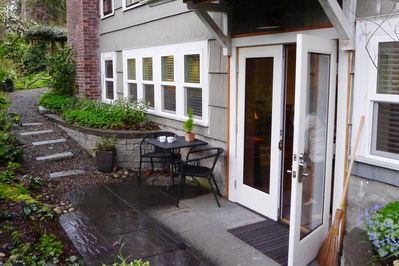 Private entrance and patio.