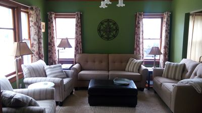 """Large living room with 43"""" Flat screen , dvd, Also Netfix & Hulu"""