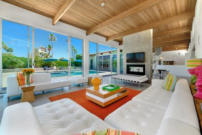 Living room overlooking the pool.