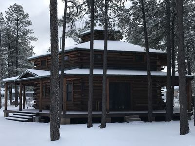 Photo for Six Pines Lodge Hexagon Real Log Cabin! Fully Fenced and Dog Friendly!