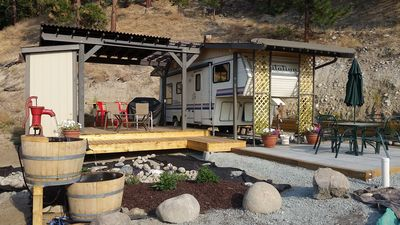 Photo for Glamping in Peachland, decks, trailer & RV parking