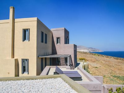 Photo for Waterfront Villa with spectacular Aegean sea and Ermoupolis views