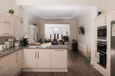 Open plan kitchen,dining area and lounge, this vast area in 50 feet in length