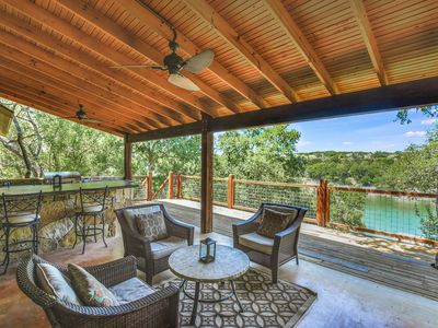 Photo for New Listing! Pedernales River Oasis w/ Private Dock, Boat Slip, Swing & Deck