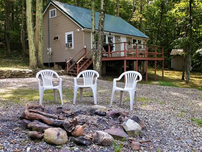 Photo for Cozy hilltop cabin nestled in the trees w/ deck, lake view & firepit!