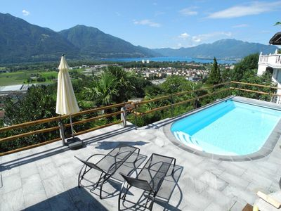 Photo for Great terrace house with swimming pool, in a higher position above Gordola / Locarn