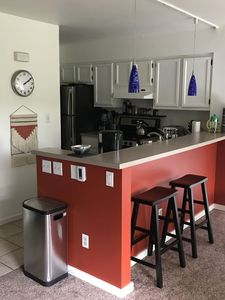 the fully-stocked kitchen
