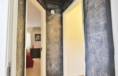 Funky chalkboard hallway in the entry hall