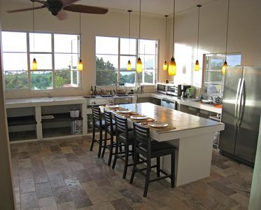 Kitchen with pass through window and ocean views