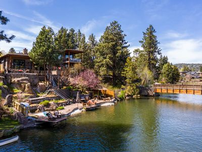 Photo for Epic Riverfront Estate. Iconic Bend home. Walk everywhere. Recreate on river. 4 Outdoor Decks.