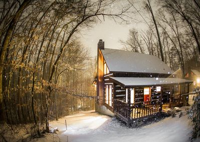 A night picture of our cabin during a 2014 Winter Snow.