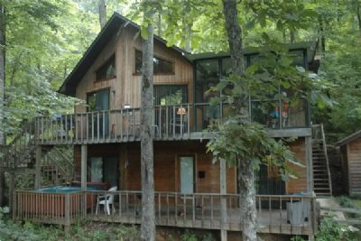 Photo for Hidden Cove Hideaway provides rustic enjoyment, views, woods, hot tub.