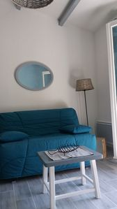 Photo for 300m from the sea, renovated studio with terrace and private parking